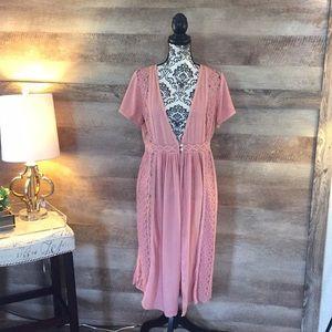 PinkBlush Lace Sides Long Cardigan/Dress
